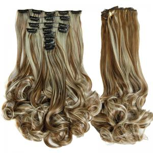 Medium Curly High Temperature Fiber Clip In Hair Extension For Women