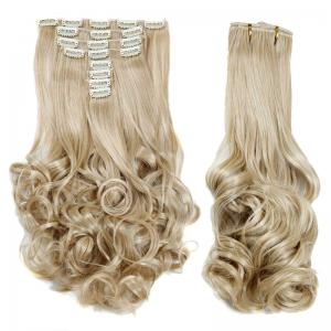 Medium Curly High Temperature Fiber Clip In Hair Extension For Women - Platinum