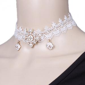 Lace Faux Pearl Flower Choker Necklace - White - 38