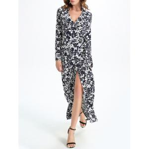 Maxi Floral Print Slit Long Sleeve Wrap Swing Dress