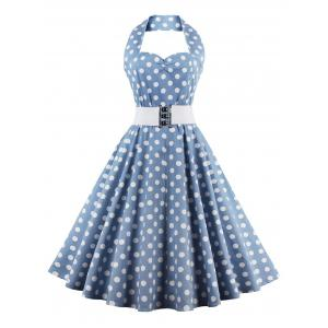 Retro Halter Sweetheart Neck Polka Dot Flare Dress