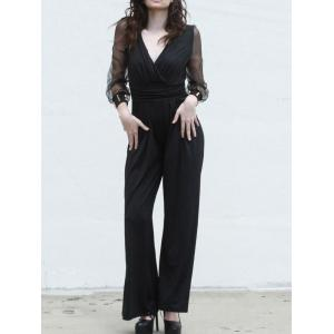 Charming V-Neck Long Sleeve Wide-Leg Jumpsuit For Women - Black - One Size