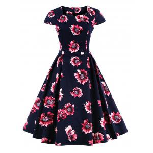 Retro Sweetheart Neck Cape Sleeve Floral Print Skater Dress - Purplish Blue - S