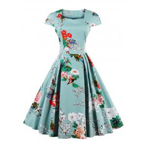 Retro Sweetheart Neck Cape Sleeve Floral Print Flare Dress - Light Blue - S