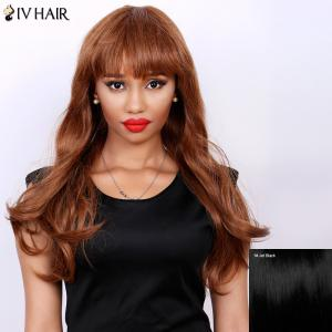 Attractive Full Bang Siv Hair Capless Fluffy Wave Long Real Natural Hair Wig For Women - Jet Black