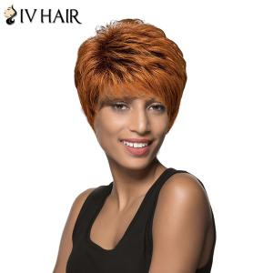 Spiffy Fluffy Straight Capless Siv Hair Short Boy Cut Brown Mixed Human Hair Wig For Women