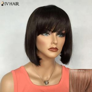 Bob Hairstyle Short Siv Hair Capless Straight Real Natural Hair Wig For Women