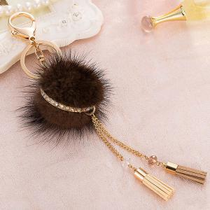 Bag Keychain Faux Fur Ball Two Tassel Keyring - Coffee