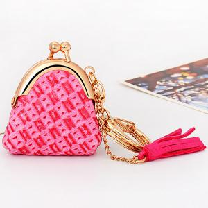 Mini Bag Faux Leather Tassel Keyring