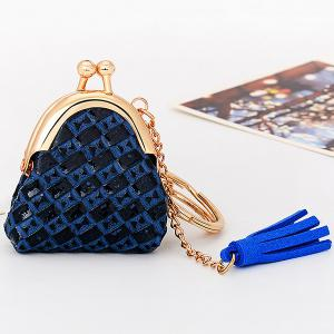 Mini Bag Faux Leather Tassel Keyring - Blue - Style 4