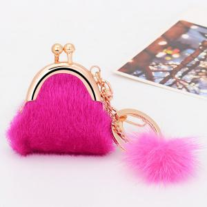 Mini Bag Faux Fur Ball Embellished Keyring - Rose Red