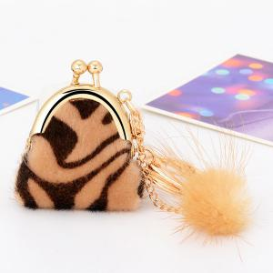 Mini Bag Faux Fur Ball Leopard Print Keyring - Coffee - Style 4