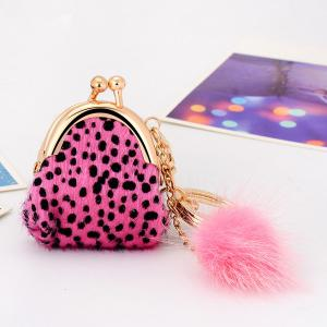 Faux Fur Dot Mini Bag Shape Keyring - Pink