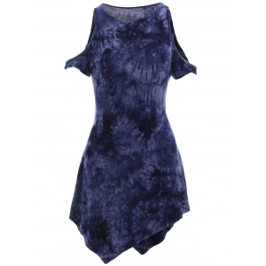 Women's Tie-Dyed Hollow Out High Low T-Shirt