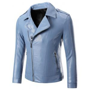 Epaulet Zippered Lapel Long Sleeve Faux Leather Jacket For Men - Light Blue - M