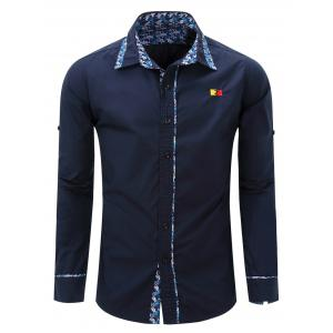 Embroidery Floral Print Splicing Turn-Down Long Sleeve Shirt For Men - Deep Blue - M