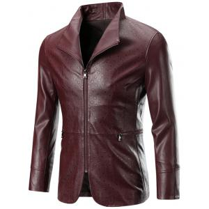 Zippered Long Sleeve Embossed Leather Jacket For Men - Wine Red - 3xl