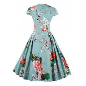 Retro Sweetheart Neck Cape Sleeve Floral Print Flare Dress - LIGHT BLUE XL