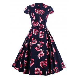 Retro Sweetheart Neck Cape Sleeve Floral Print Skater Dress -