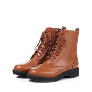 Casual Tie Up and Engraving Design Short Boots For Women - BROWN 39