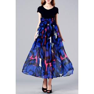 Pleated Floral Maxi Short Sleeve Swing Dress
