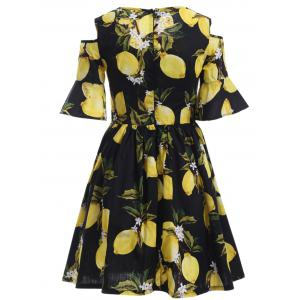 Cold Shoulder Lemon Print Dress -