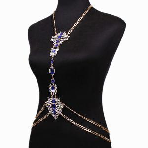Rhinestone Water Drop Beach Body Jewelry Chain - BLUE