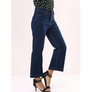 High Waisted Cropped Flare Jeans - DENIM BLUE XL