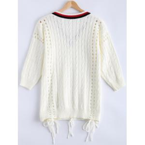 Crochet V Neck Cut Out Cricket  Sweater -