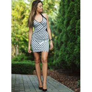 Halter Stripe Night Out Bodycon Dress -