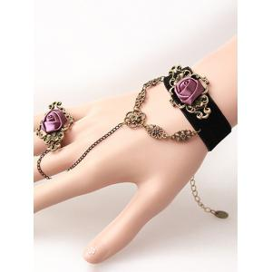 Stylish Rose Velvet Bracelet with Ring -