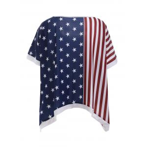 Fashionable Short Sleeve American Flag Print T-Shirt For Women -