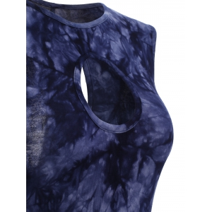 Tie-Dyed Hollow Out High Low T-Shirt For Women -
