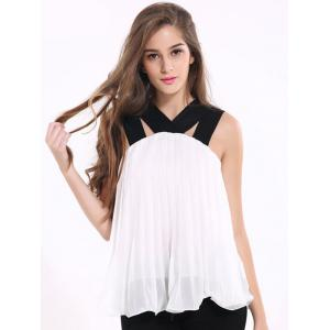 Chic Strappy Pleated Chiffon Tank Top For Women -