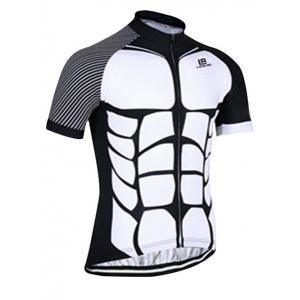 Active Spliced Bibshort + Short Sleeve Bike Jerseys Twinset For Men - WHITE AND BLACK 3XL