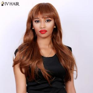 Attractive Full Bang Siv Hair Capless Fluffy Wave Long Real Natural Hair Wig For Women - AUBURN BROWN