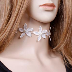 Floral Lace Faux Pearl Wedding Jewelry Choker - WHITE