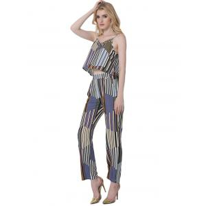 Casual Hit Color Tank Top and Striped Pants Set For Women - BLUE 2XL