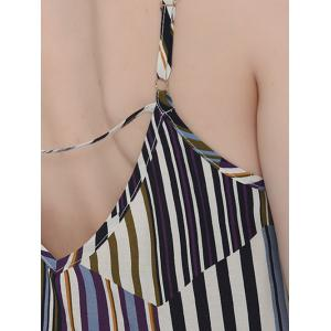 Casual Hit Color Tank Top and Striped Pants Set For Women - BLUE M