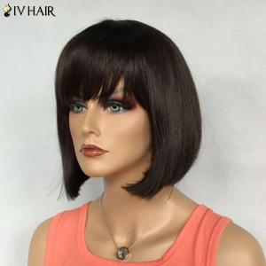 Bob Hairstyle Short Siv Hair Capless Straight Real Natural Hair Wig For Women -