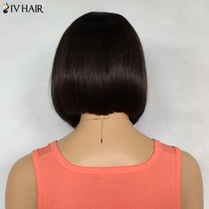 Bob Hairstyle Short Siv Hair Capless Straight Real Natural Hair Wig For Women - BROWN/BLONDE
