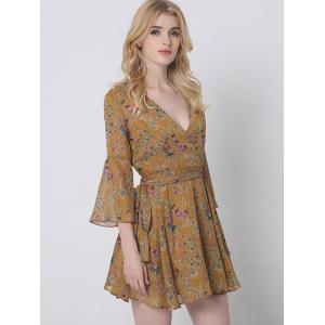 Graceful Flare Sleeve Floral Wrap Dress For Women -