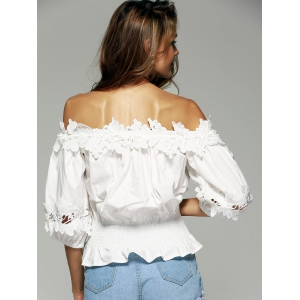 Off The Shoulder Laciness Waisted Blouse -