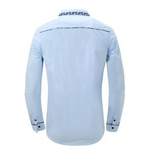 Embroidery Floral Print Splicing Turn-Down Long Sleeve Shirt For Men - LIGHT BLUE 2XL