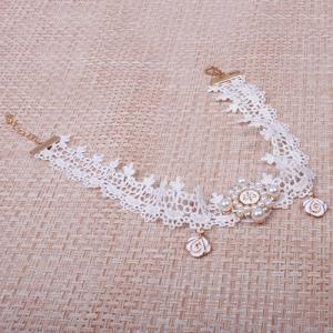 Lace Faux Pearl Flower Choker Necklace - WHITE