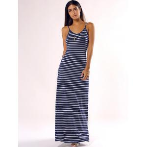 Simple Spaghetti Strap Stripe Slimming Maxi Dress -