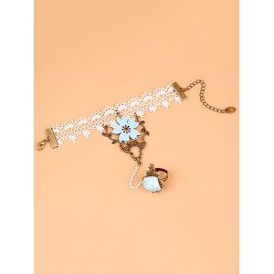 Filigree Branch Rose Lace Bracelet with Ring -