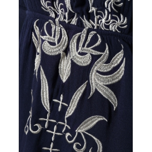 Sweet Embroidered Lace-Up Bell Sleeves Dress -