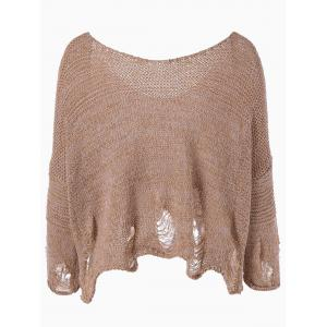 Scoop Neck Ripped Pullover Sweater -