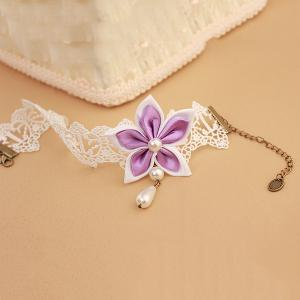 Delicate White Lace Faux Pearl Bauhinia Embellished Anklet For Women -